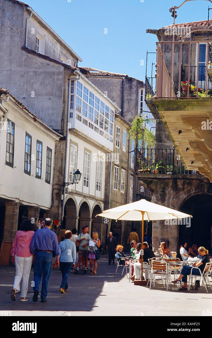 Rua del Villar. Santiago de Compostela, La Coruña province, Galicia, Spain. - Stock Image