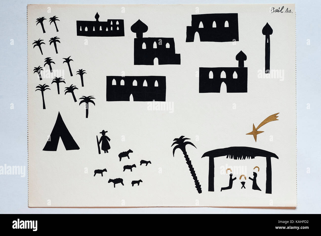 Christmas crib, schoolchildren's drawing, sticky work, children's drawing, 11 years, Germany - Stock Image