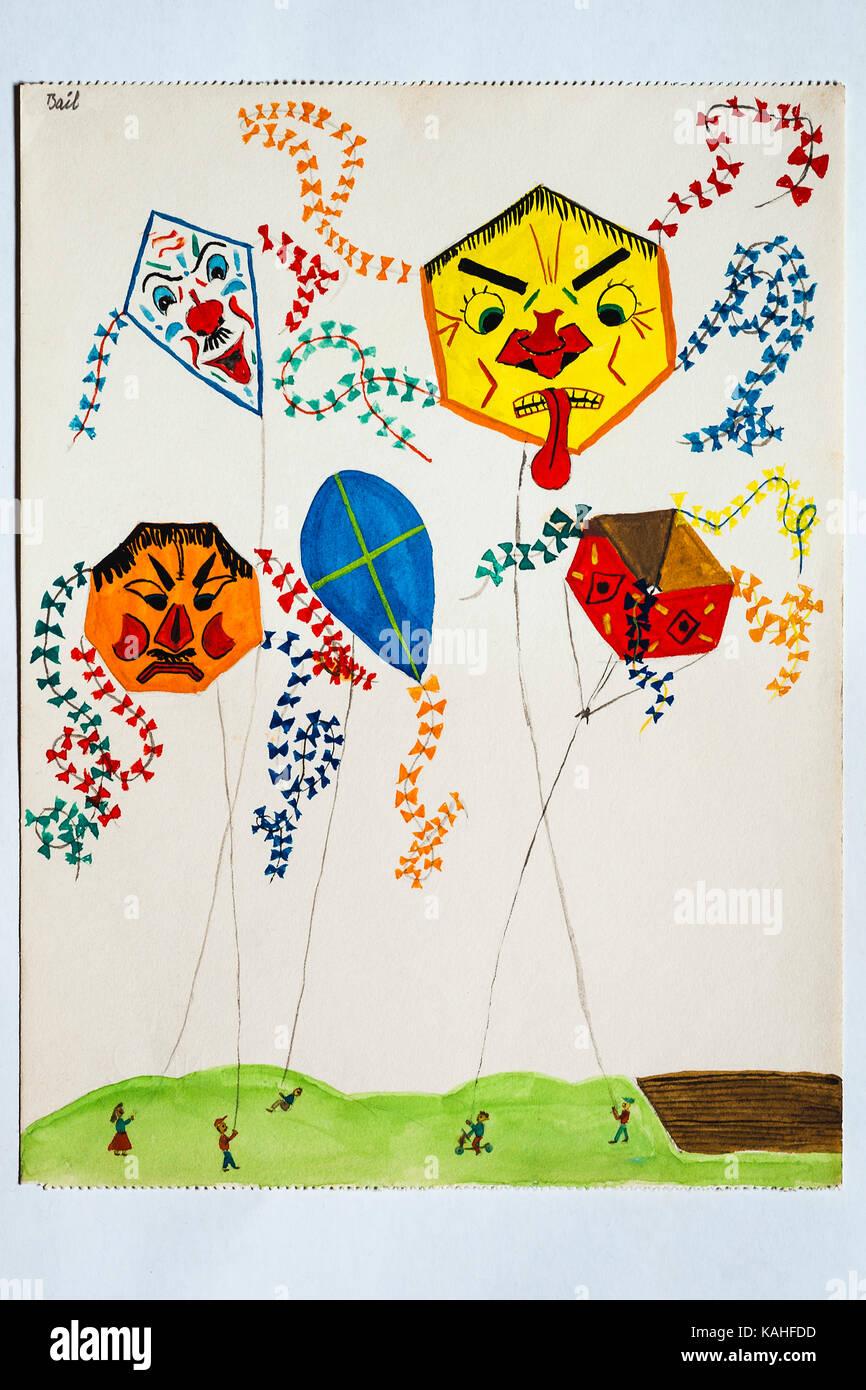 Kite Drawing Stock Photos Kite Drawing Stock Images Alamy