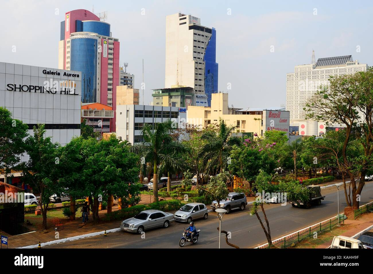Main street in the city centre, Ciudad del Este, Alto Paraná, Paraguay - Stock Image