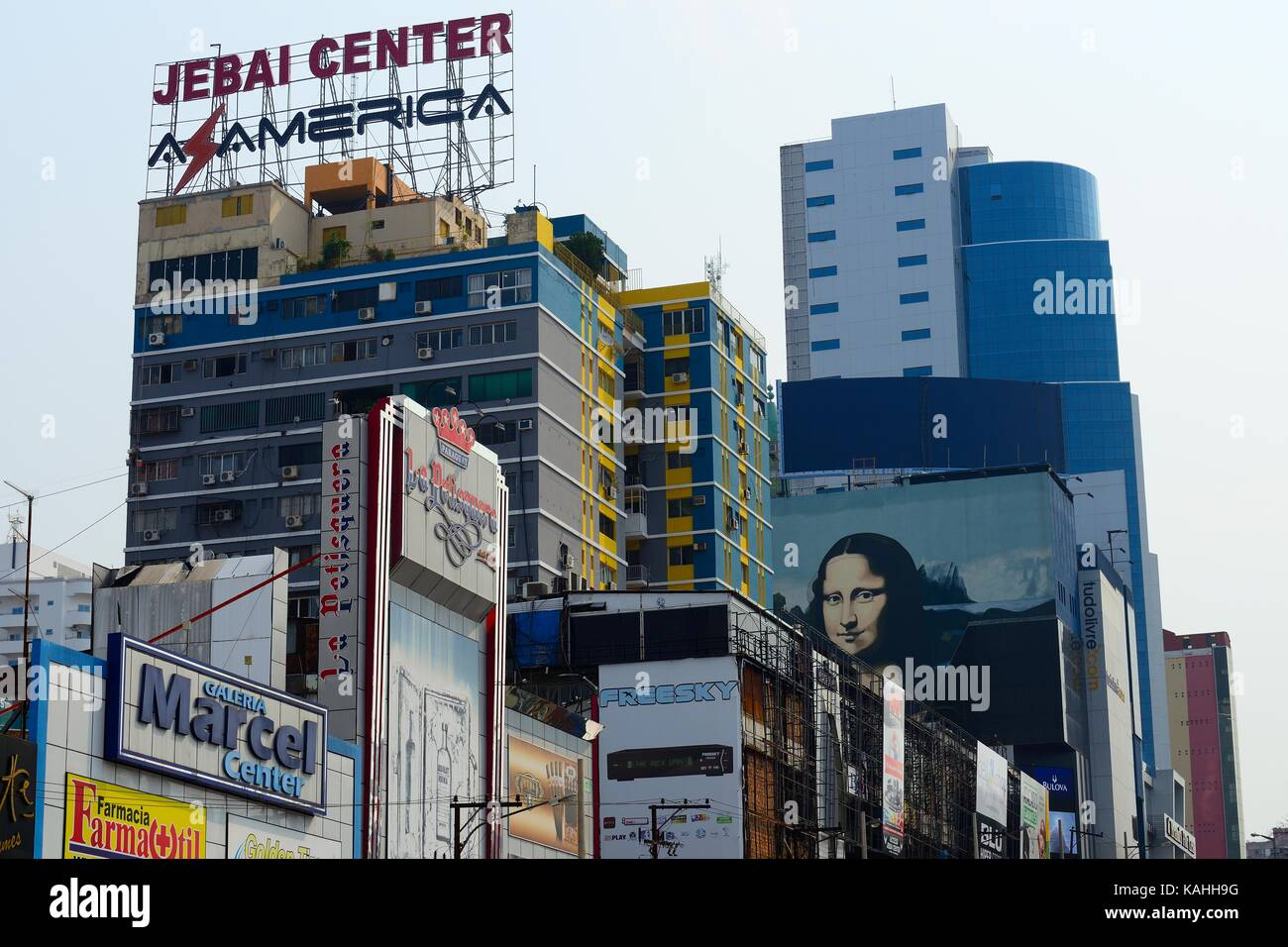 Advertising signs on high-rise facades, Ciudad del Este, Alto Paraná, Paraguay - Stock Image