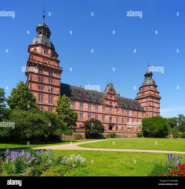 Johannisburg Castle, Renaissance castle, Aschaffenburg, Lower Franconia, Franconia, Bavaria, Germany - Stock Image