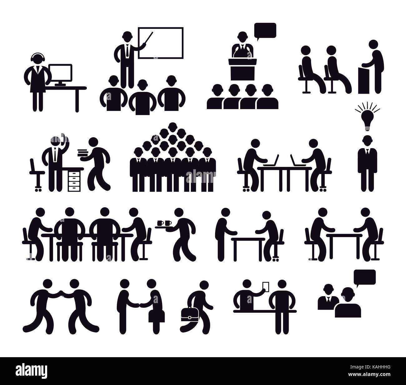 Workplace concept, pictogram illustration - Stock Image