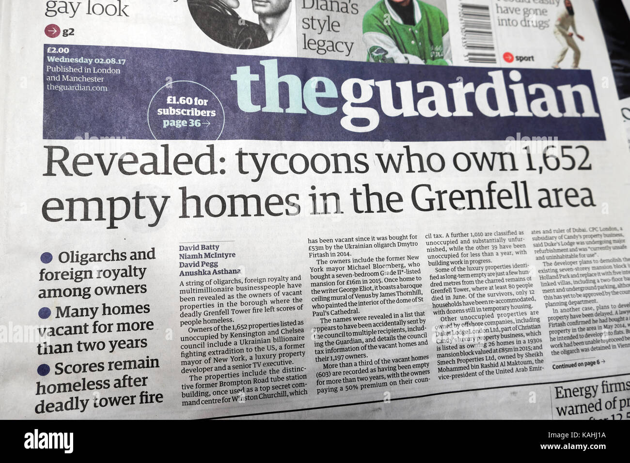 'Revealed: tycoons who own 1,652 empty homes in the Grenfell area' Guardian newspaper headline 02,08.2017 - Stock Image