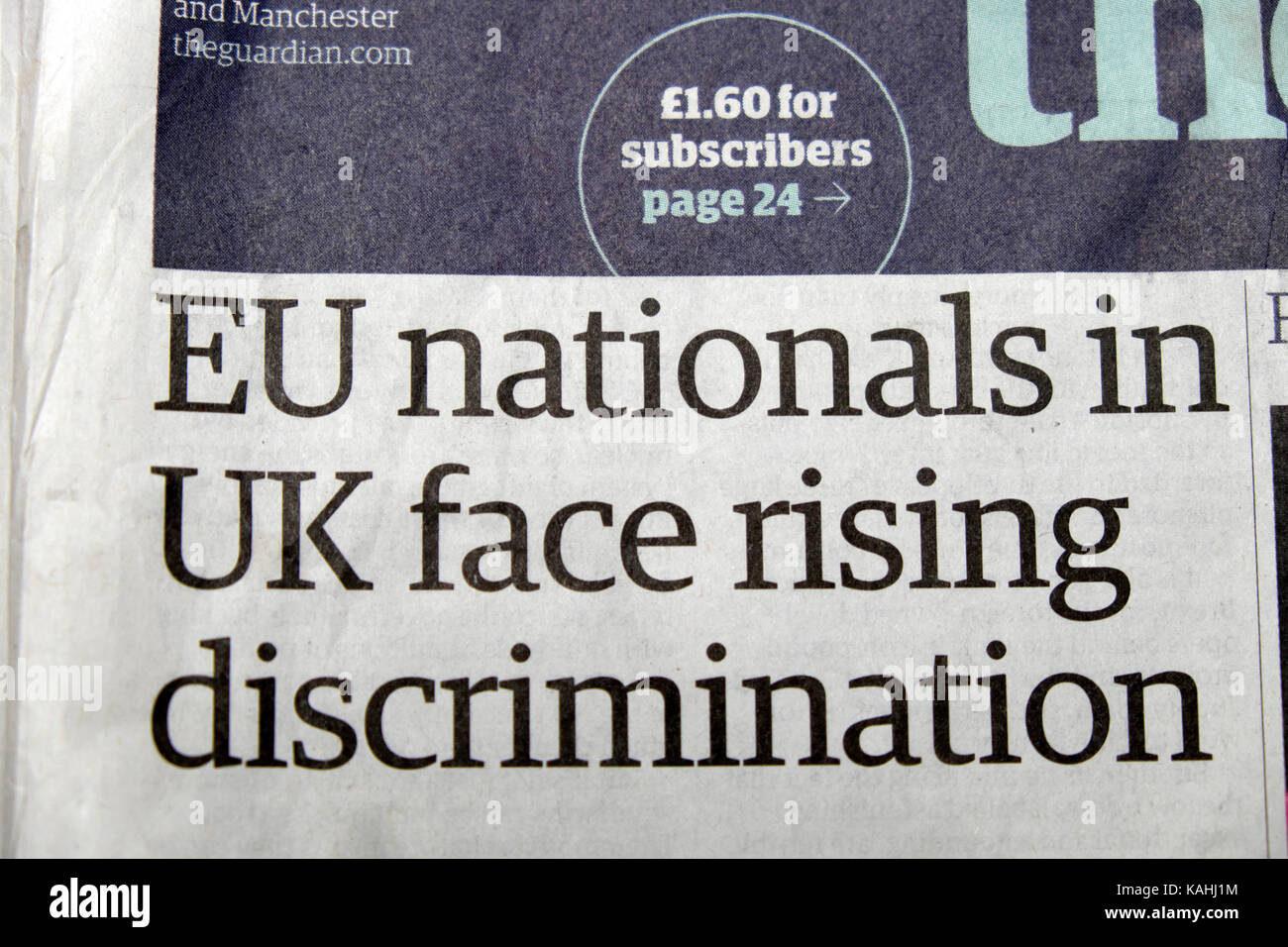 'EU nationals in UK face rising discrimination' Guardian newspaper headline 2017 - Stock Image