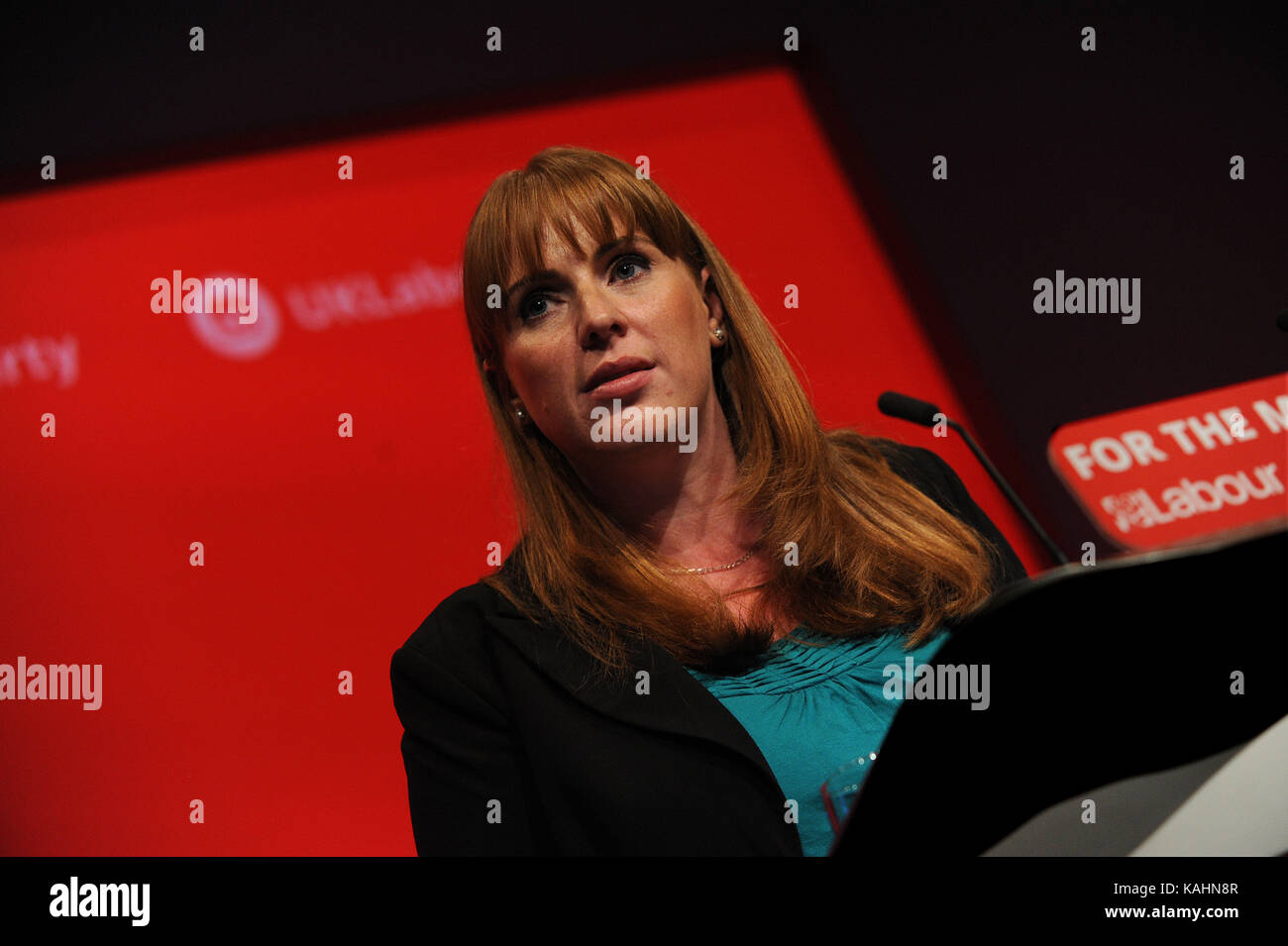 Brighton, UK. 26th Sep, 2017. Angela Raynor, Shadow Secretary of State for Education, speaking at the morning session Stock Photo