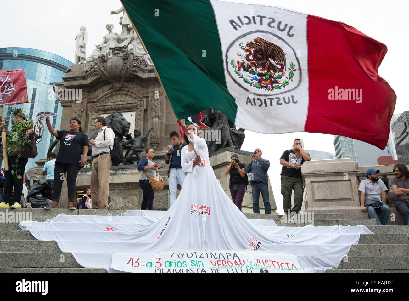 Mexico City, Mexico. 26th Sep, 2017. People march to mark the three-year anniversary of the disappearance of the Stock Photo