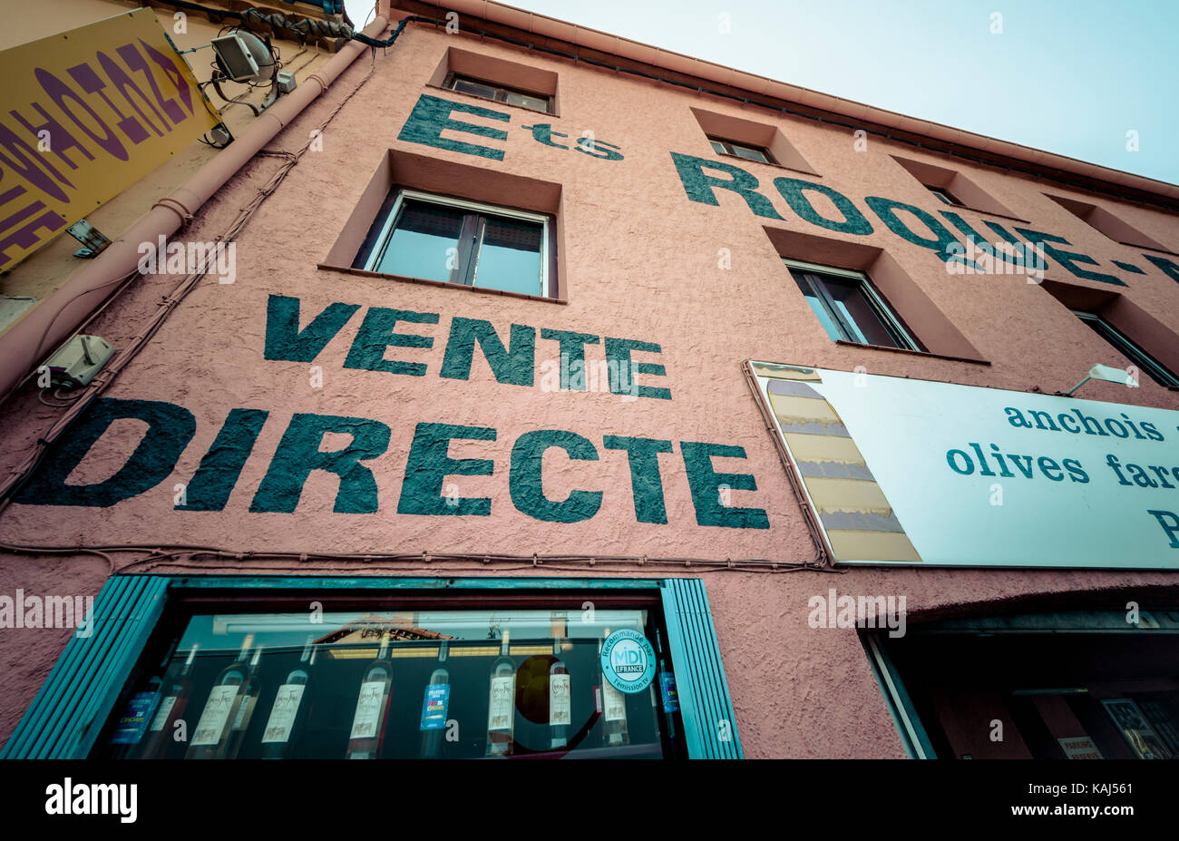 Roque Anchois anchovy factory shop in Collioure Languedoc Roussillon France - Stock Image