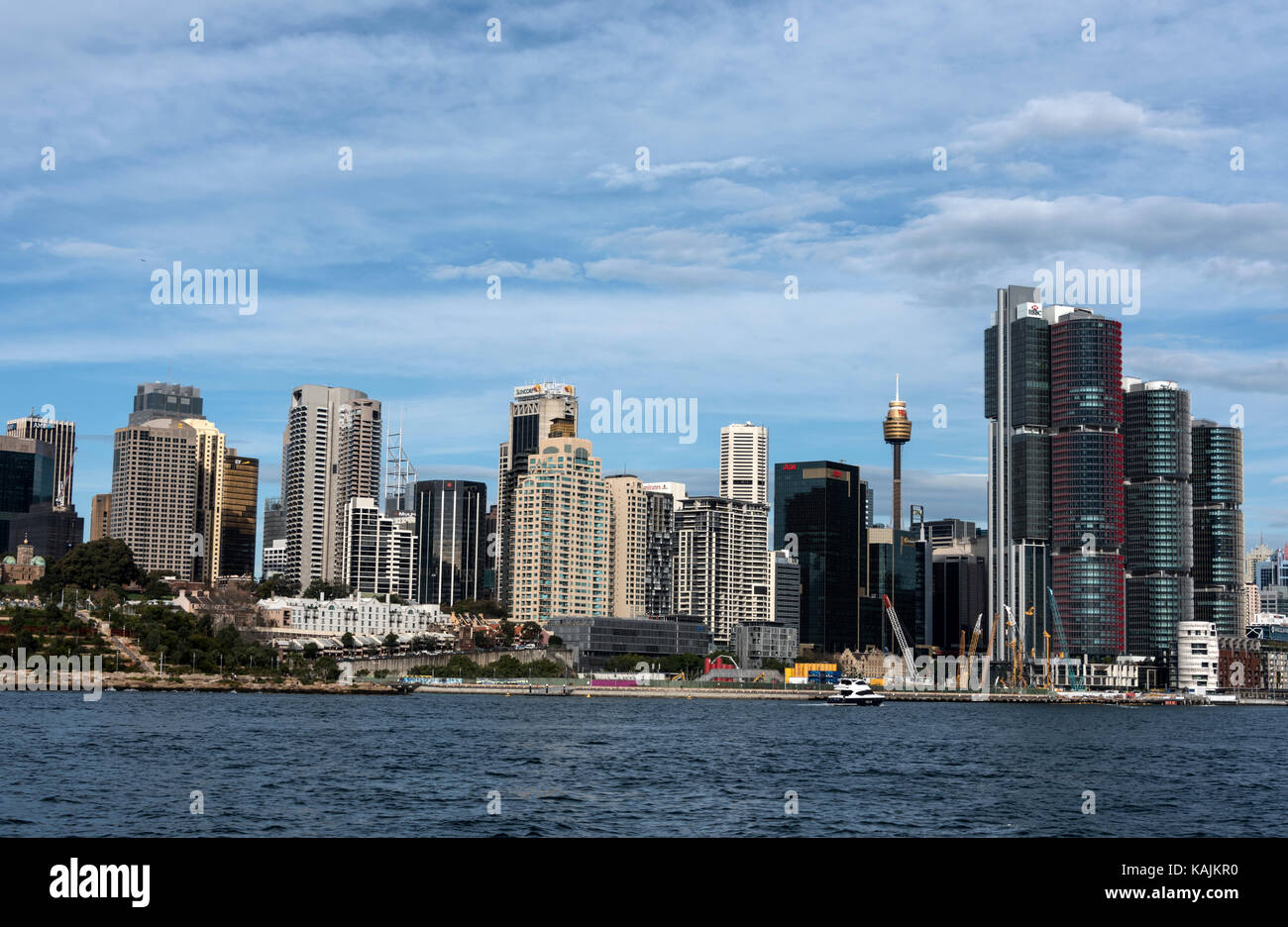 New skyline of central Sydney and Darling Harbour in Sydney, New South Wales, Australia.  There has been much public - Stock Image