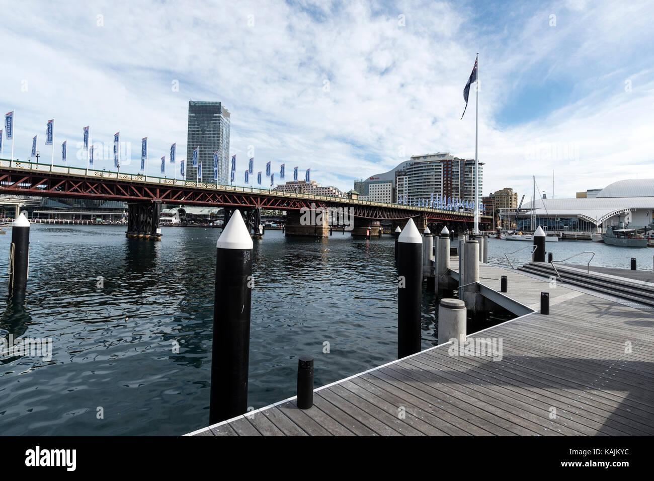 Pyrmont Bridge across Darling Harbour in Sydney, New South Wales, Australia - Stock Image