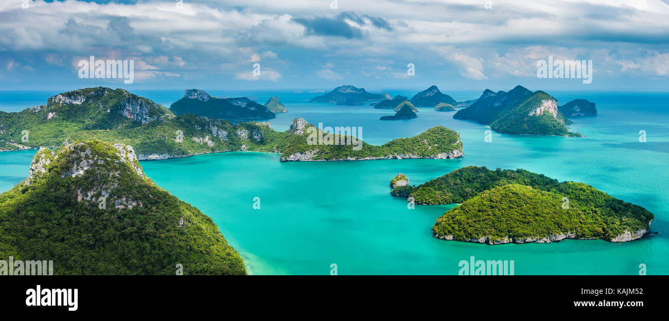 Tropical group of islands in Ang Thong National Marine Park, Thailand. Top view.  Panorama landscape. - Stock Image