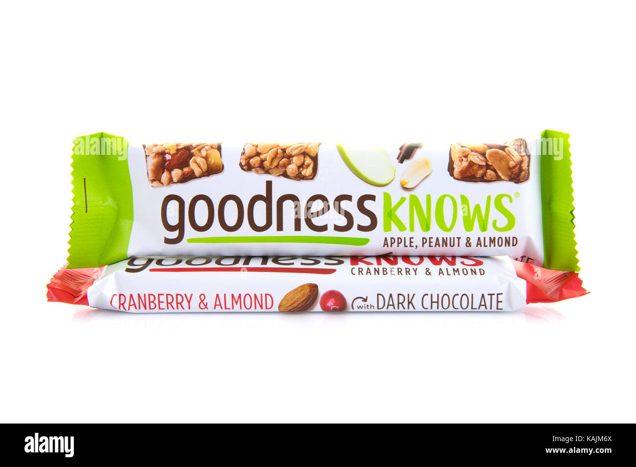 SWINDON, UK - SEPTEMBER 26, 2017: Two Goodness Knows Snack Bars on a white background - Stock Image