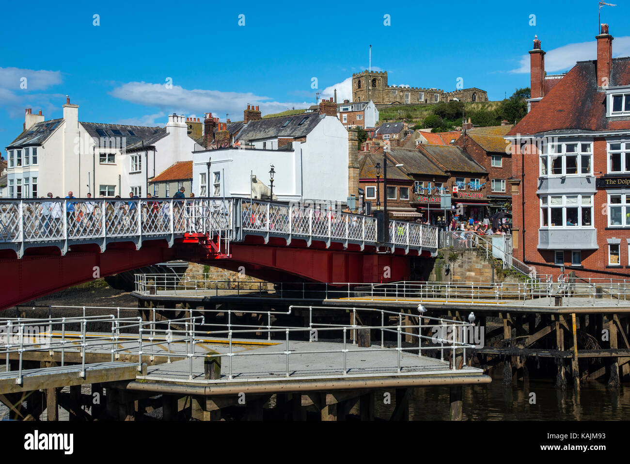 Swing Bridge and River Esk, Whitby, North Yorkshire - Stock Image