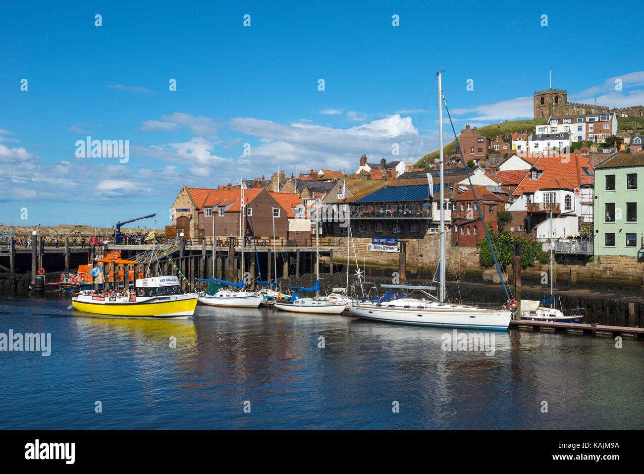 Whitby Harbour and River Esk, Whitby, North Yorkshire - Stock Image