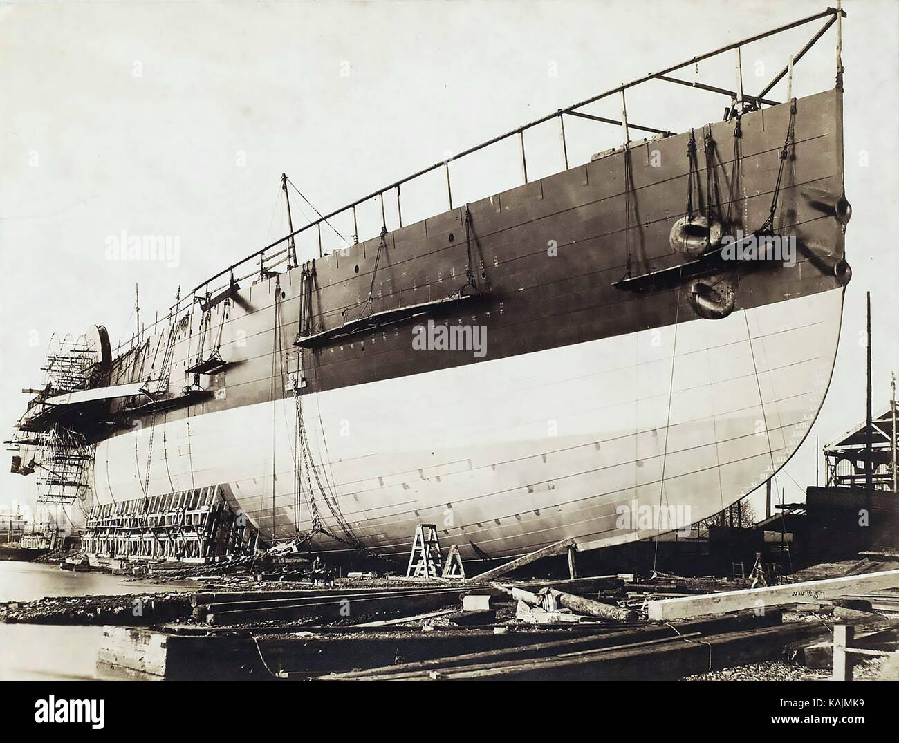 THE GREAT EASTERN ship designed by Brunel under construction in 1857. Photo: Robert Howlett - Stock Image