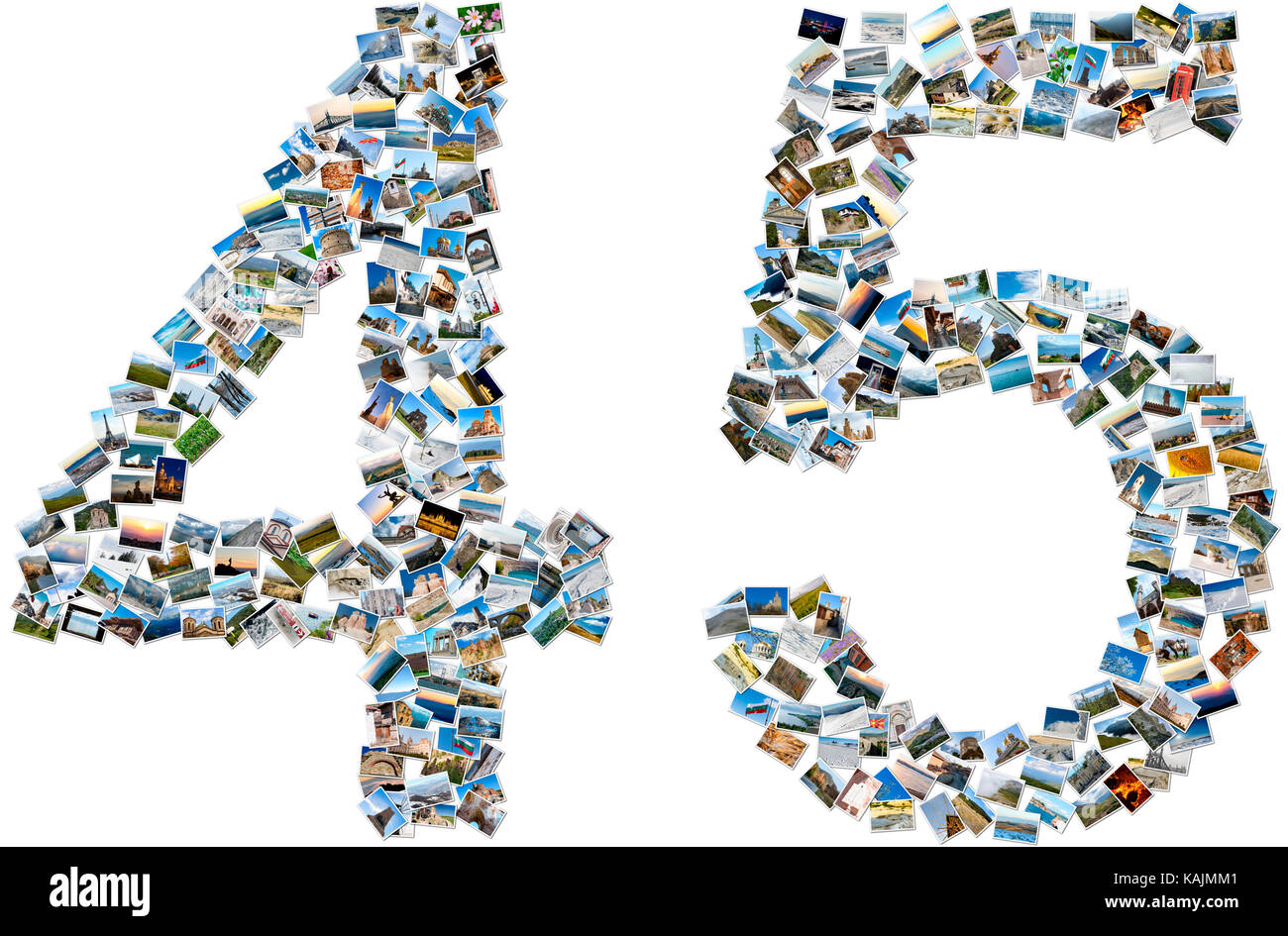 Collage of travel photos forming numbers four and five - Stock Image