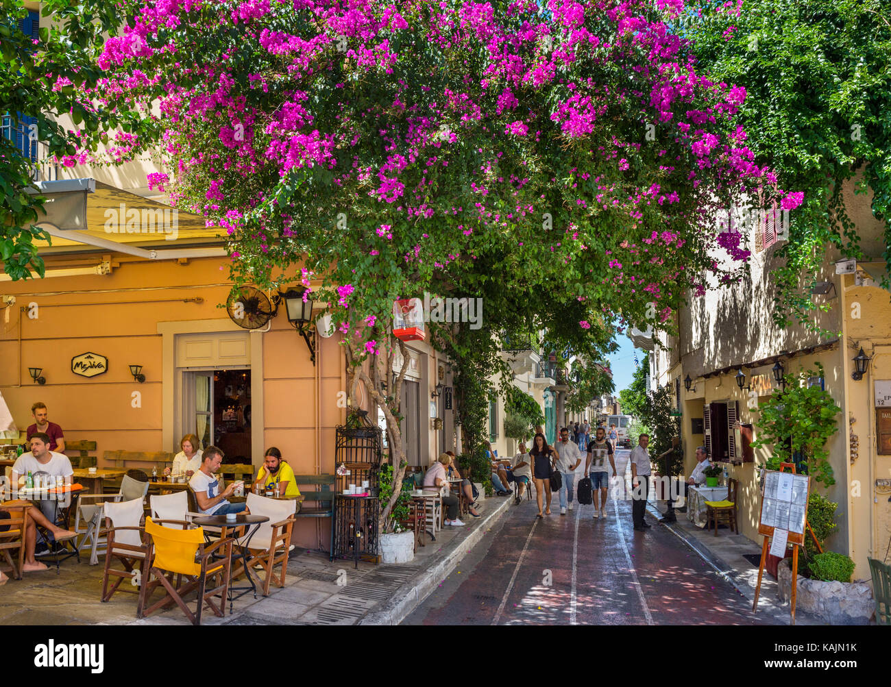 Cafe and taverna on Lisiou Street in the Plaka district, Athens, Greece - Stock Image