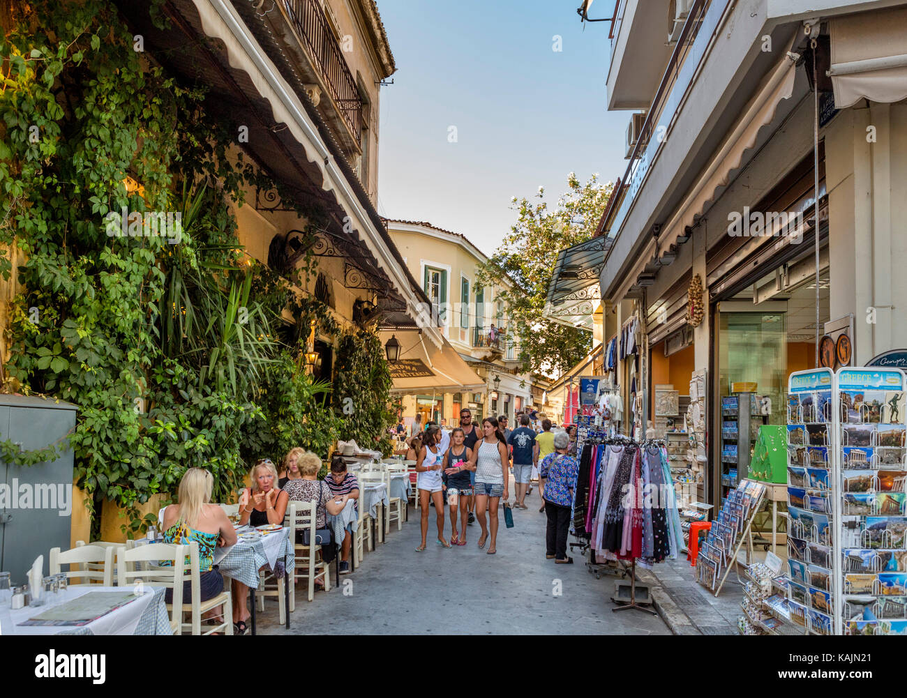 Shops and taverna on Adrianou Street in the Plaka district, Athens, Greece - Stock Image