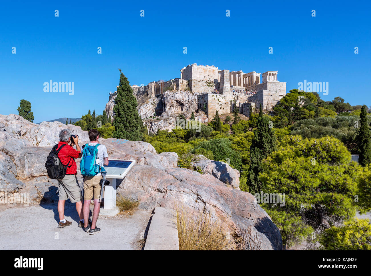 Acropolis, Athens. View of the Acropolis from Areopagus Hill, Athens, Greece - Stock Image