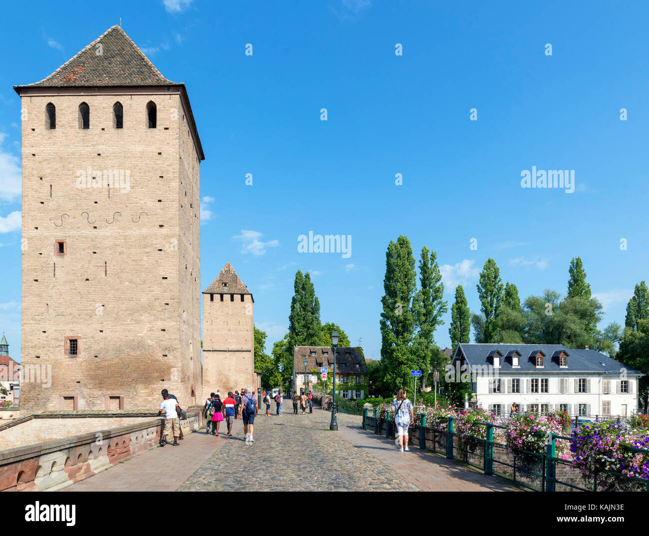 The historic 13th century Ponts Couverts over the River Ill, Petite France district, Strasbourg, Alsace, France - Stock Image