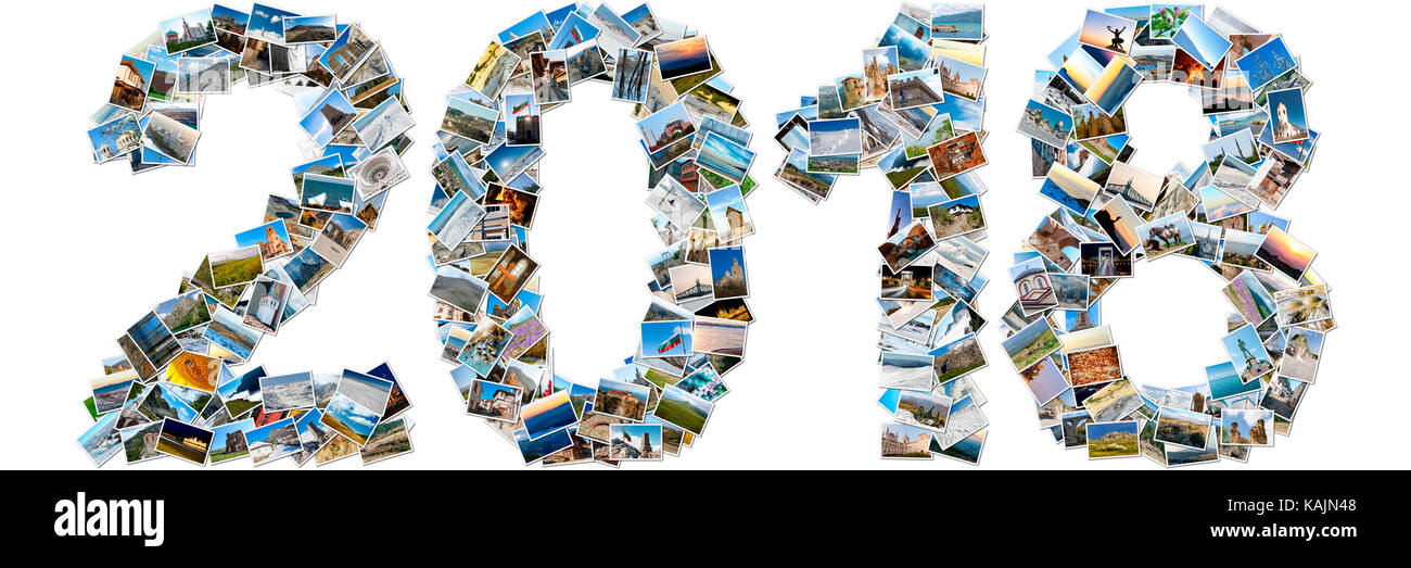 2018 made of travel photos; Collage of images - Stock Image