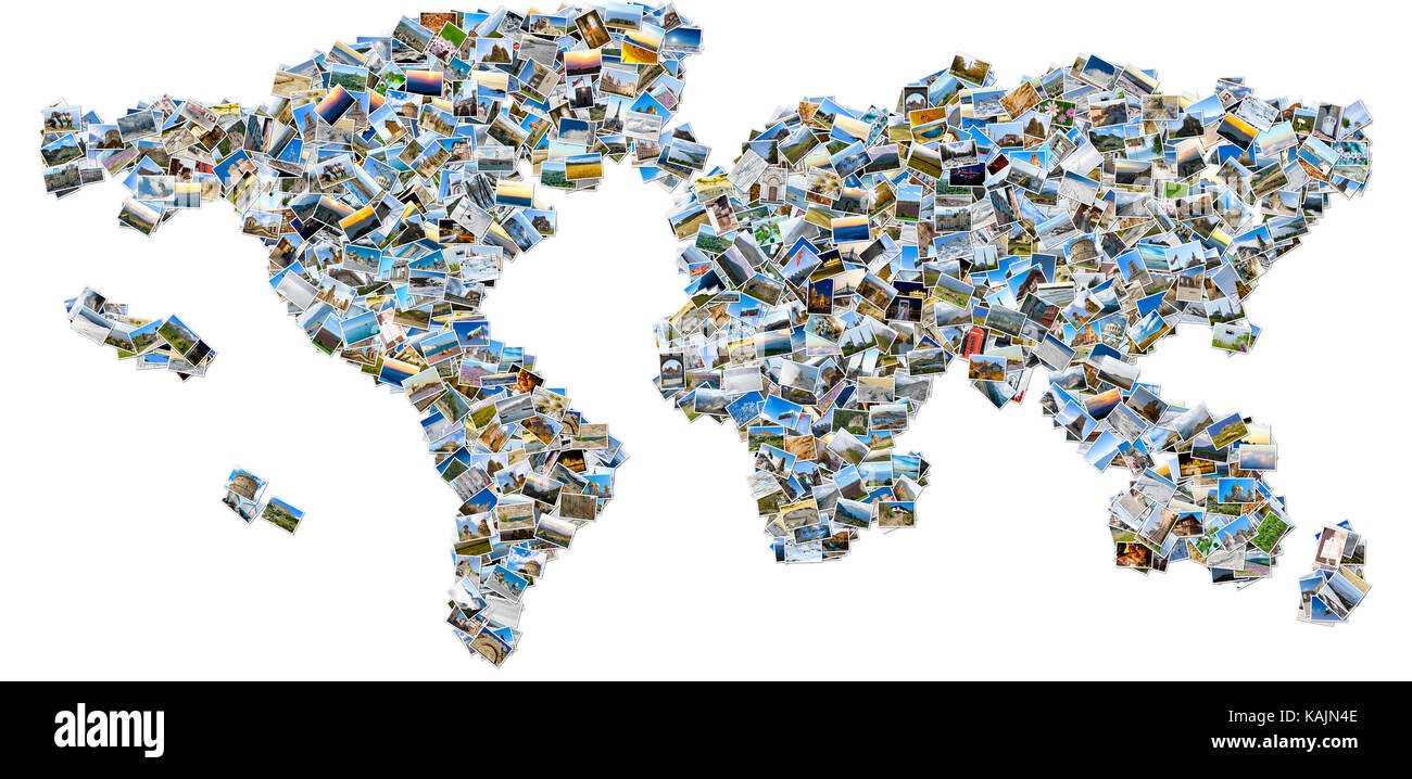 Photo collage the world map created from travel images isolated on photo collage the world map created from travel images isolated on white background gumiabroncs Image collections