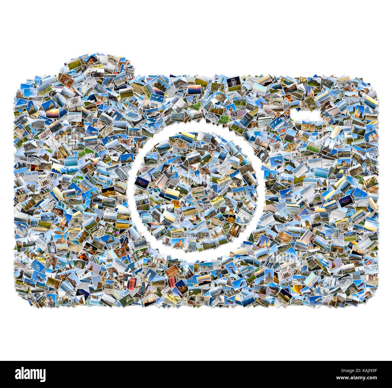 Collage of travel photos - mosaic photo camera isolated on white background - Stock Image