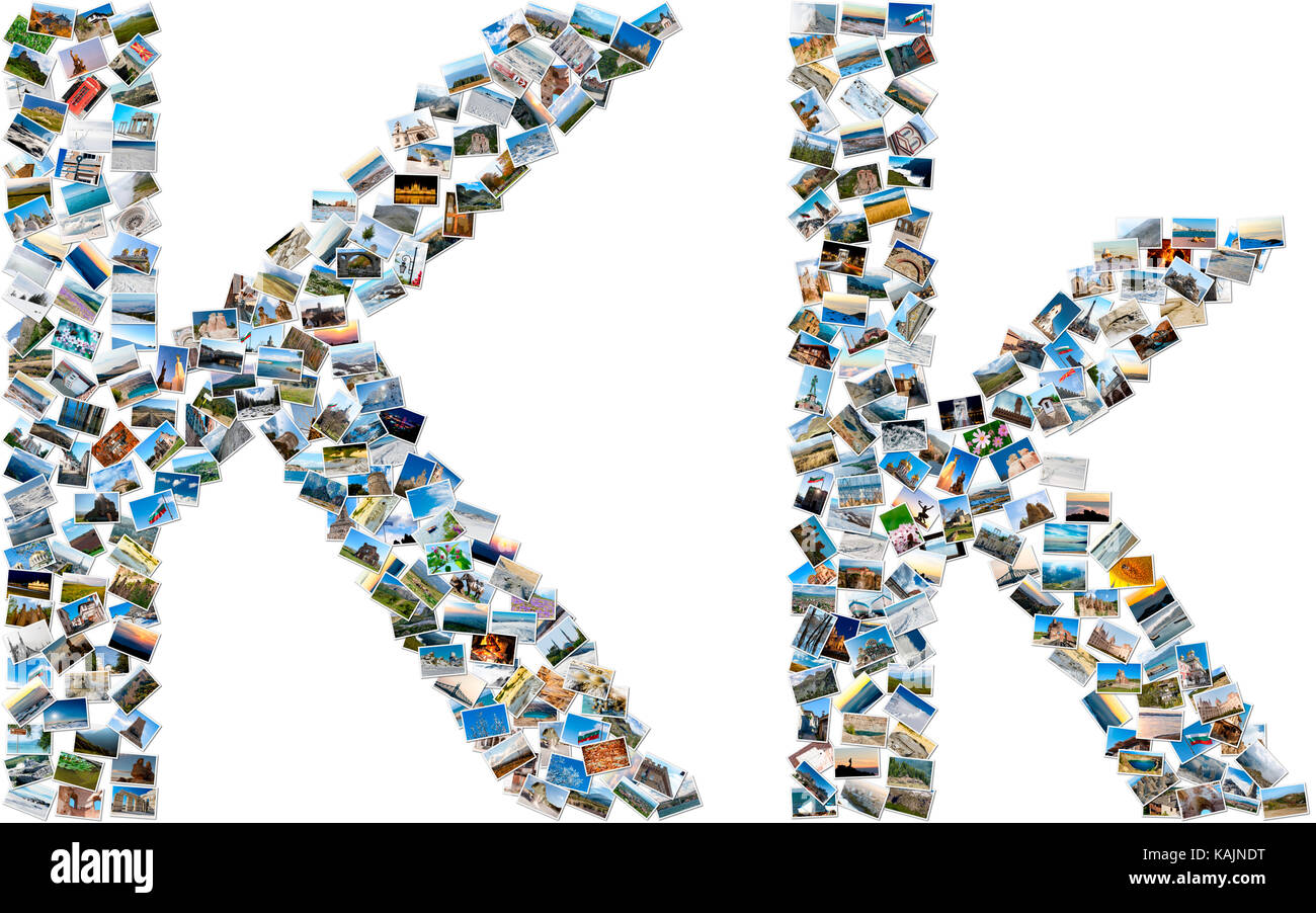 The alphabet series - collage of travel photos forming capital and small english letter K - Stock Image