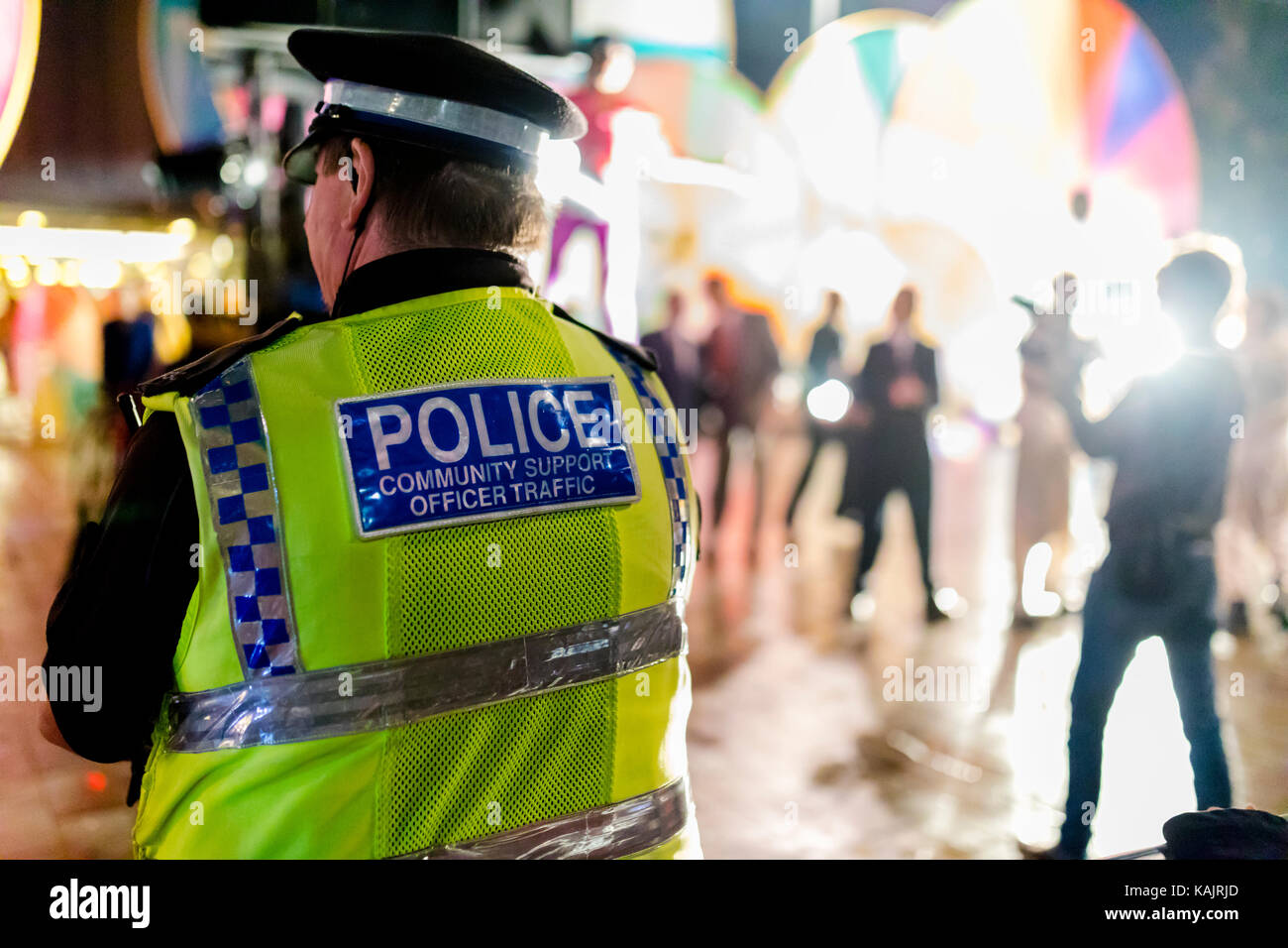 Police Community Support Traffic Officer provides security at a festival in Doncaster, Yorkshire, England - Stock Image