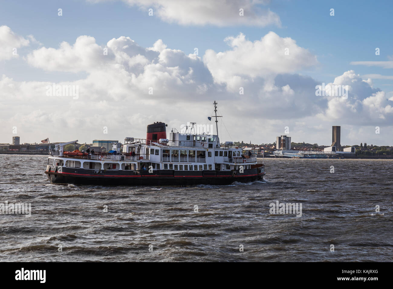 The Royal Iris ferry on the Mersey river, seen from Pier Head, Liverpool, UK. - Stock Image