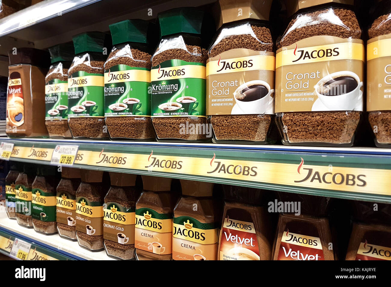 Nowy Sacz, Poland - September 17, 2017:  Various types of Jacobs coffee for sale in E.leclerc Supermarket. Jacobs - Stock Image