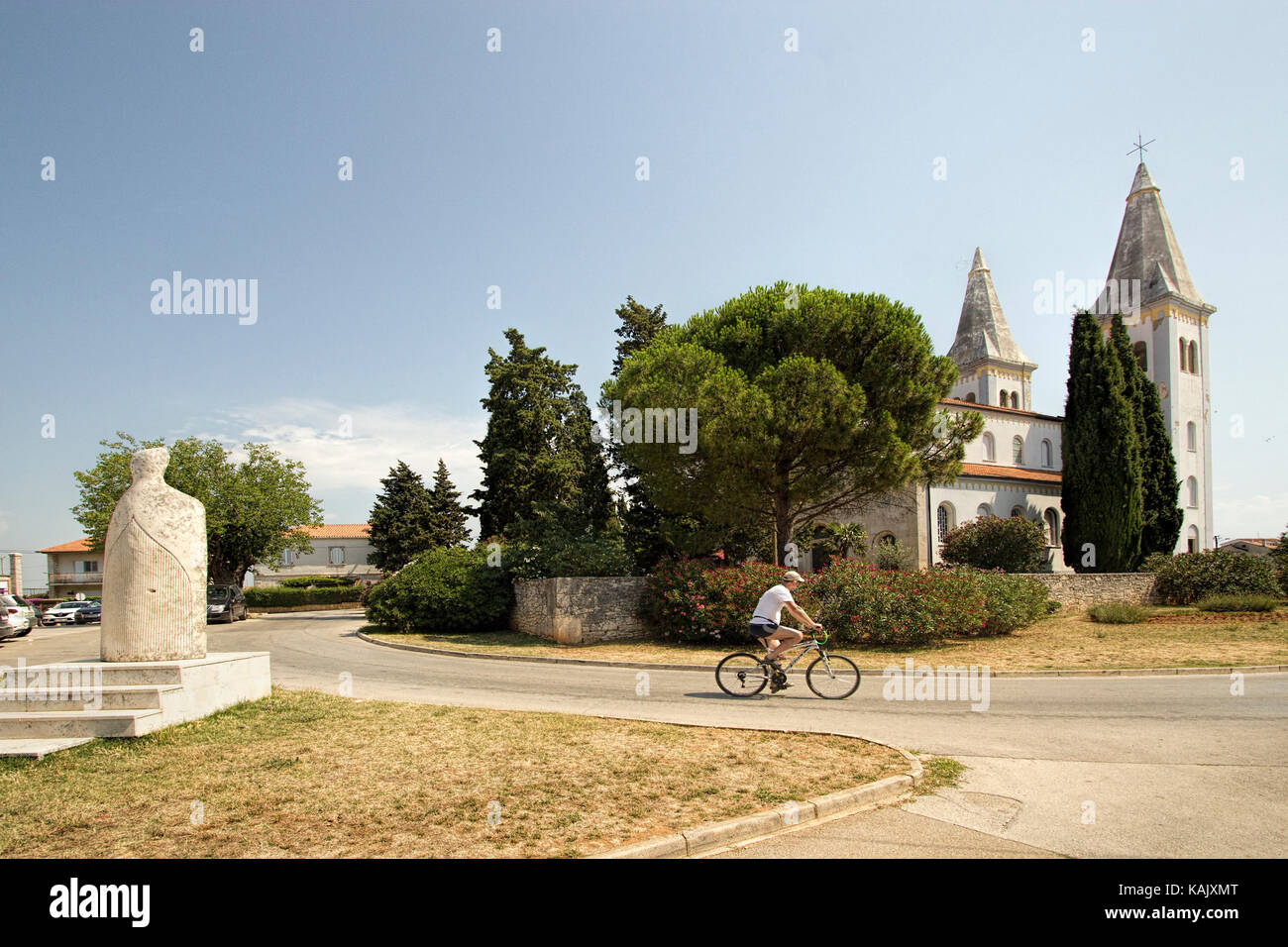 Saint Agnes Roman Catholic Church, in the Croatian resort of Medulin - Stock Image