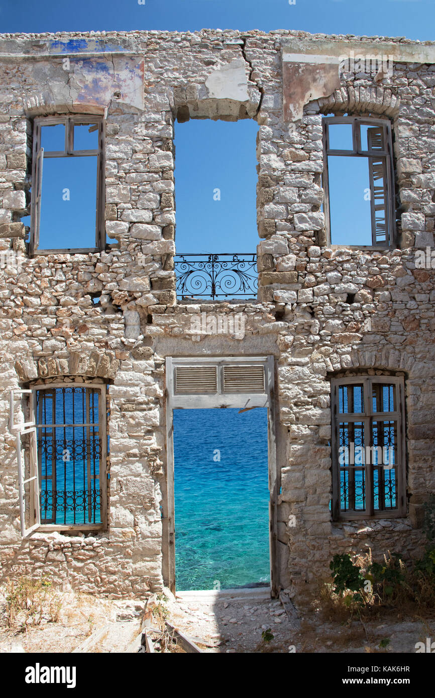 Ruin of the most beautiful house on Halki, Front elevation, Greece - Stock Image