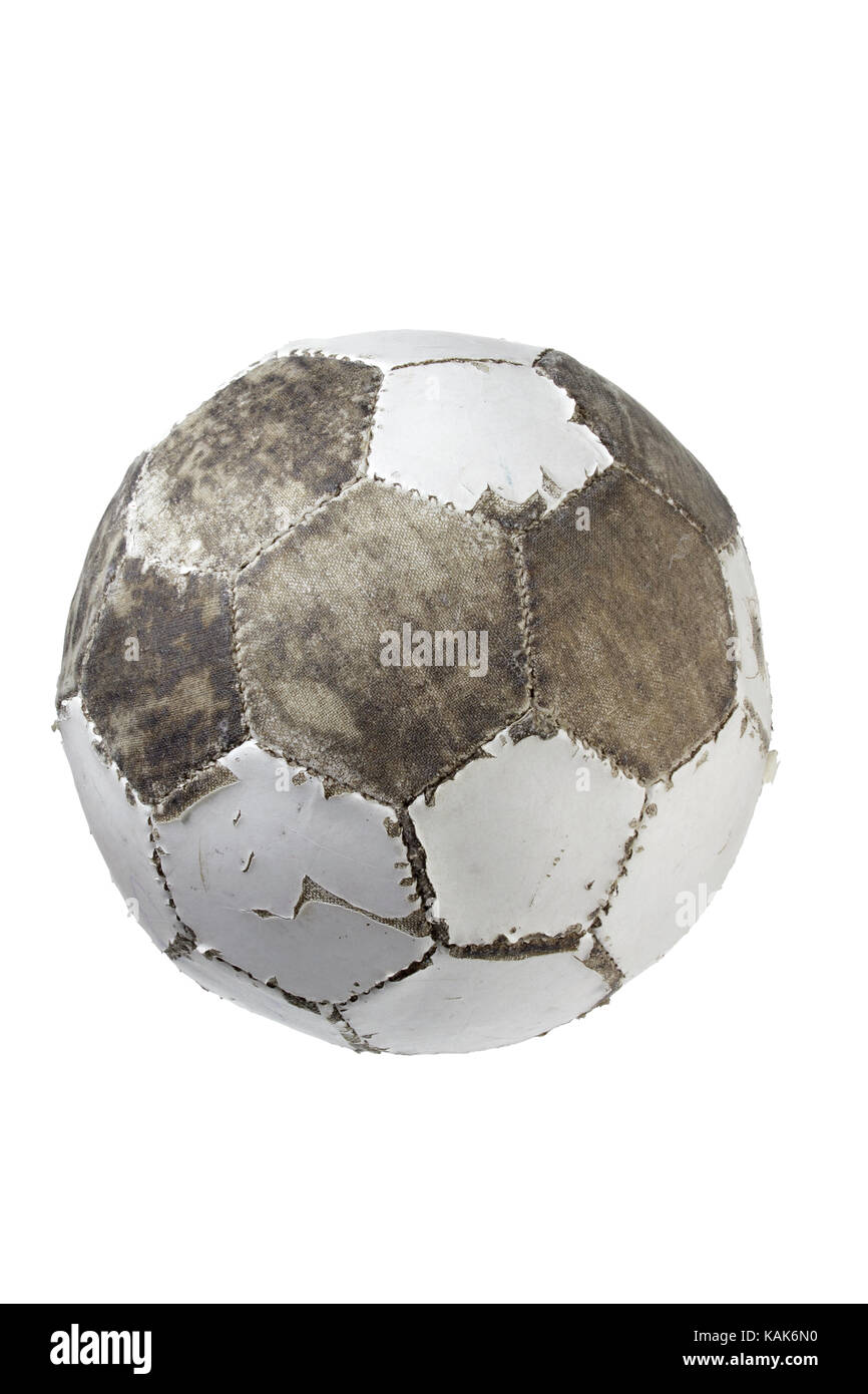 Worn-Out Football on White Background - Stock Image