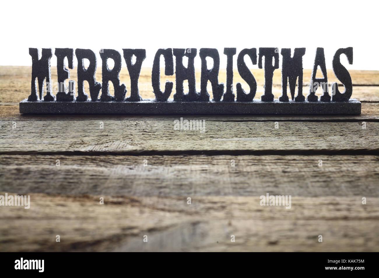 Christmas Decoration on Wooden Background - Stock Image
