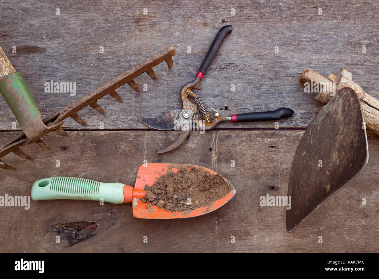 Garden tools, rake, trowel, pruning shear and floral hoe on wooden background, flat lay - Stock Image