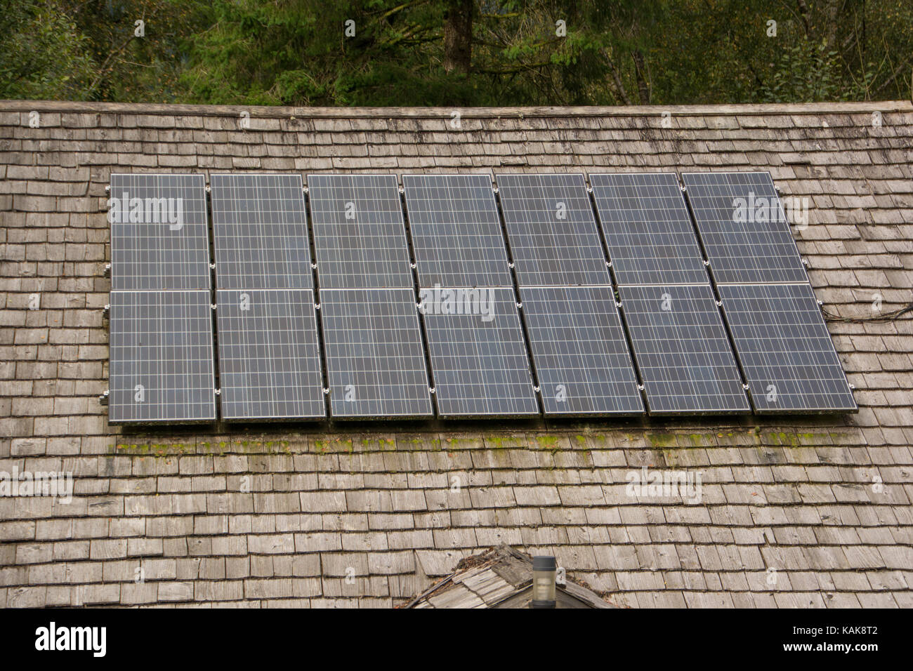 solar panels on a traditional shingled roof - Stock Image