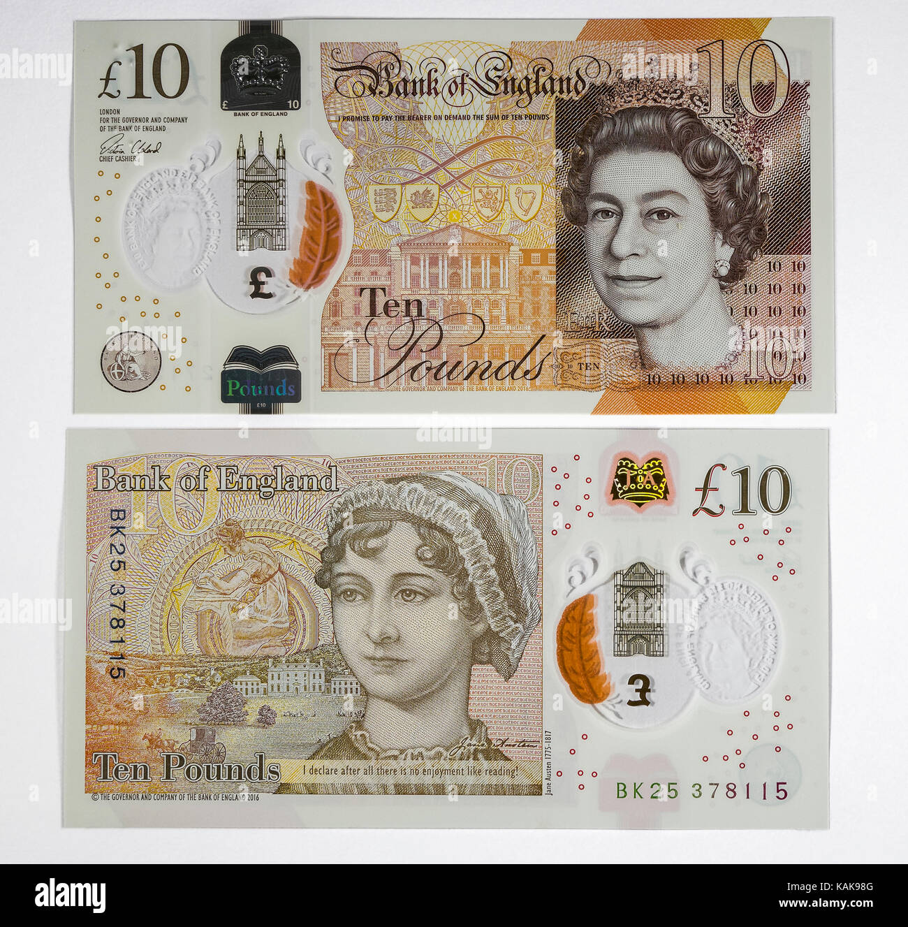 New ten pound note featuring Jane Austen, the only woman except the Queen to currently feature on a British bank - Stock Image