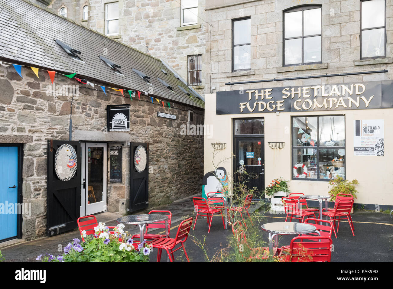 Peerieshop cafe and The Shetland Fudge Company, Lerwick, Shetland Islands, Scotland, UK - Stock Image