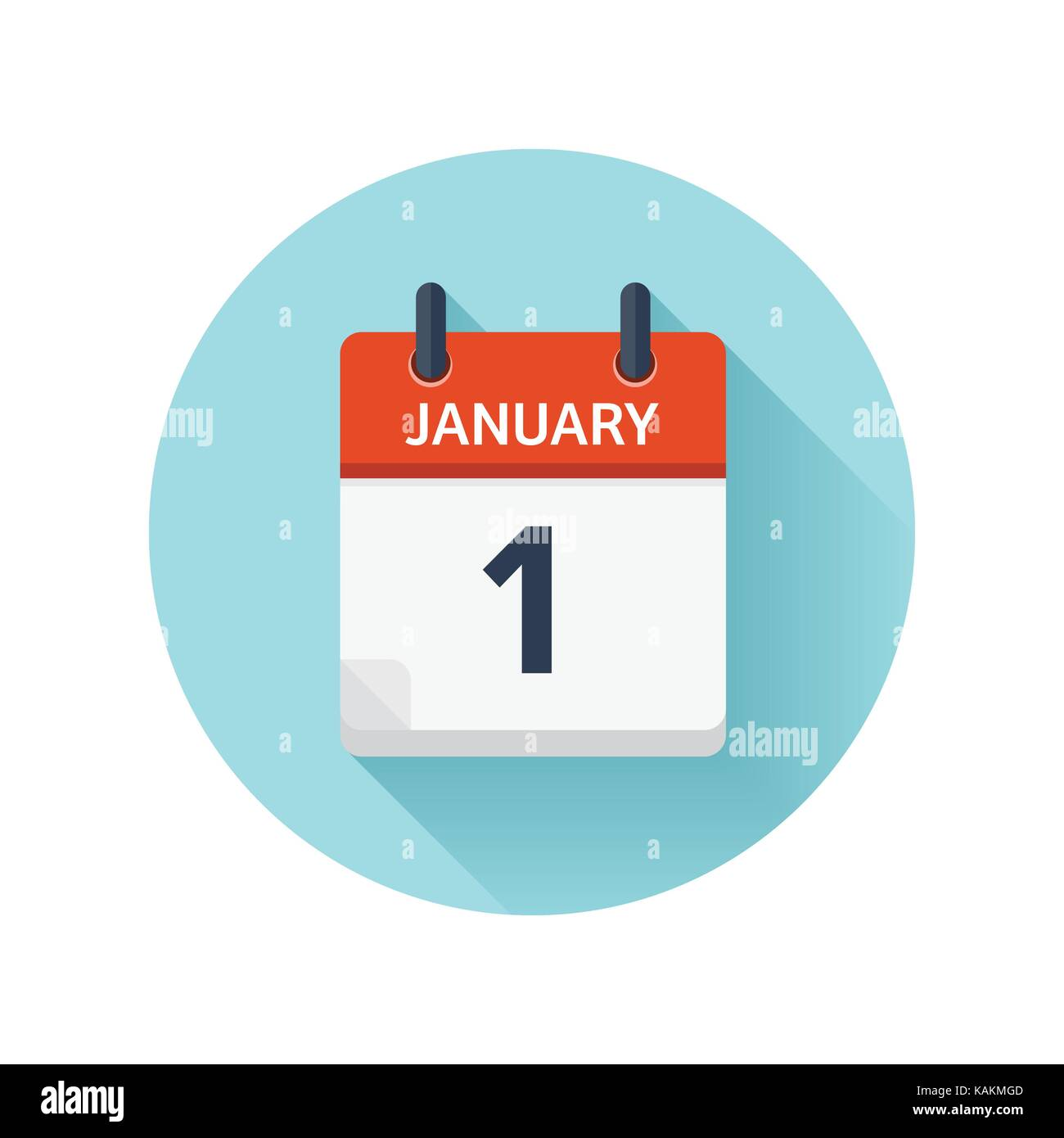 January 1. Vector flat daily calendar icon. Date and time, day