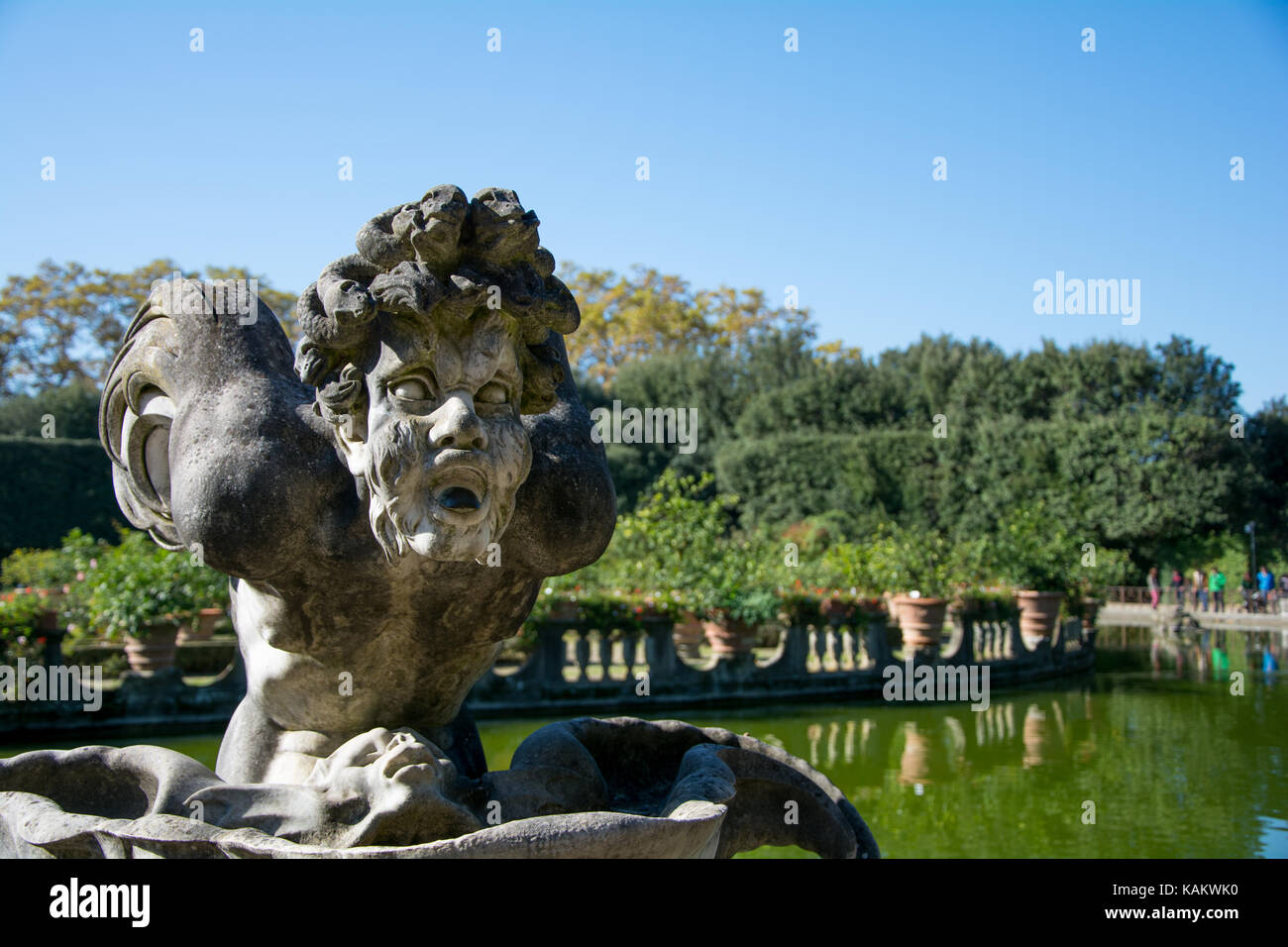 One of the various statues around the Isoletto athe Boboli Gardens in Florence, Italy - Stock Image