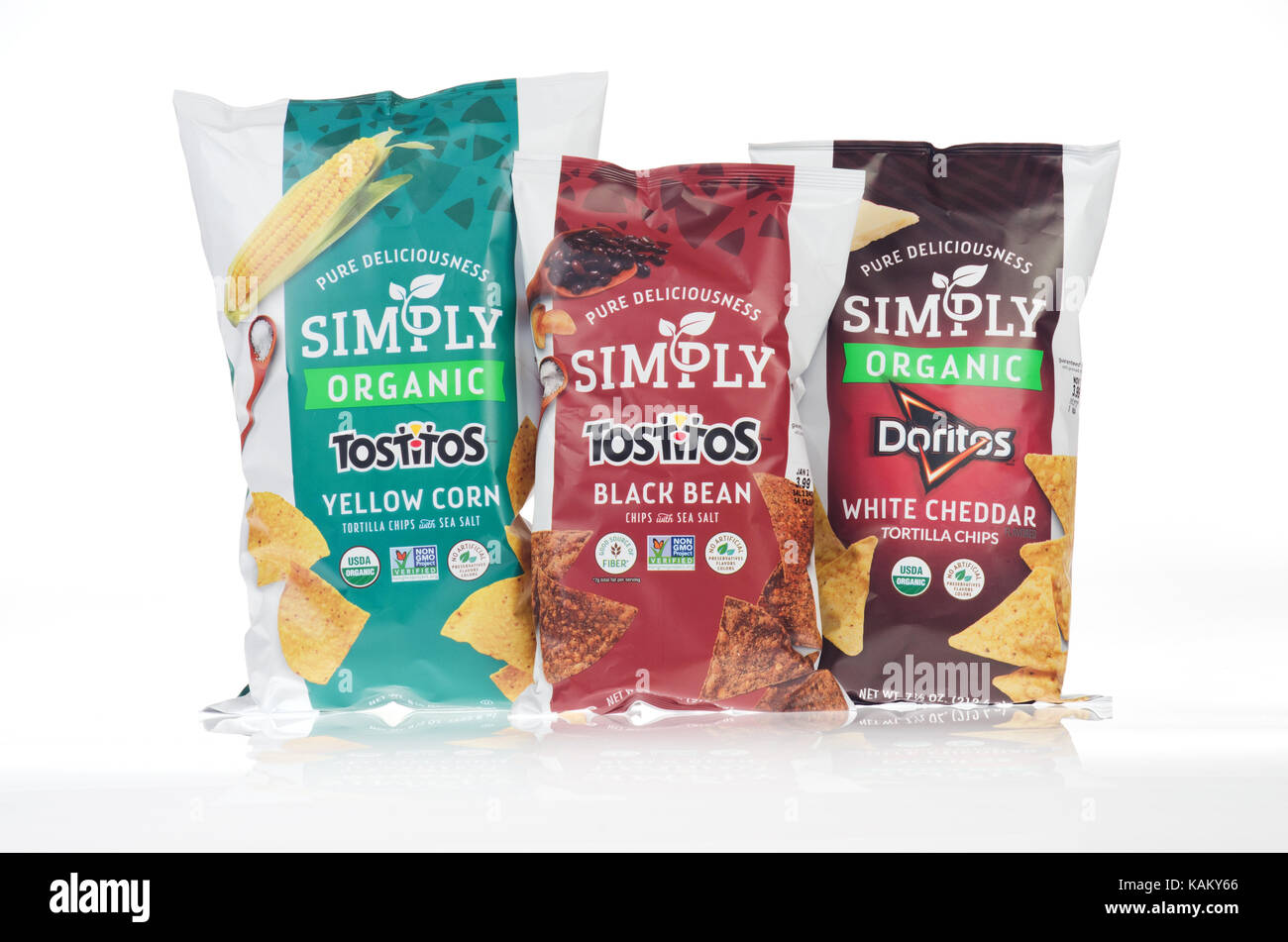3 bags of snack chips, Simply Organic Tostitos Corn, Simply Organic Doritos and Simply Tostitos Black Bean Chips - Stock Image