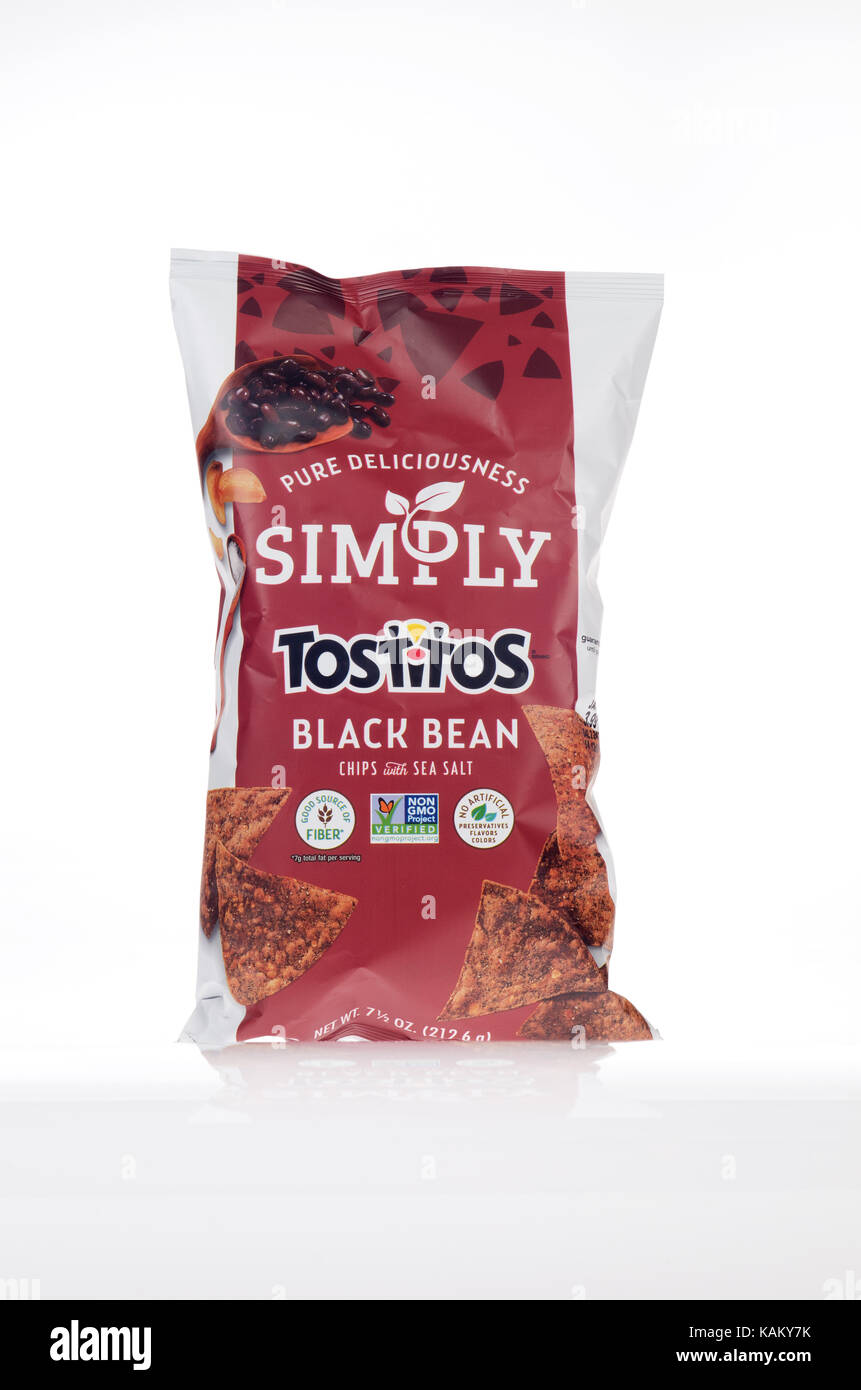 Bag of Frito-Lay Simply Black Bean Tostitos - Stock Image