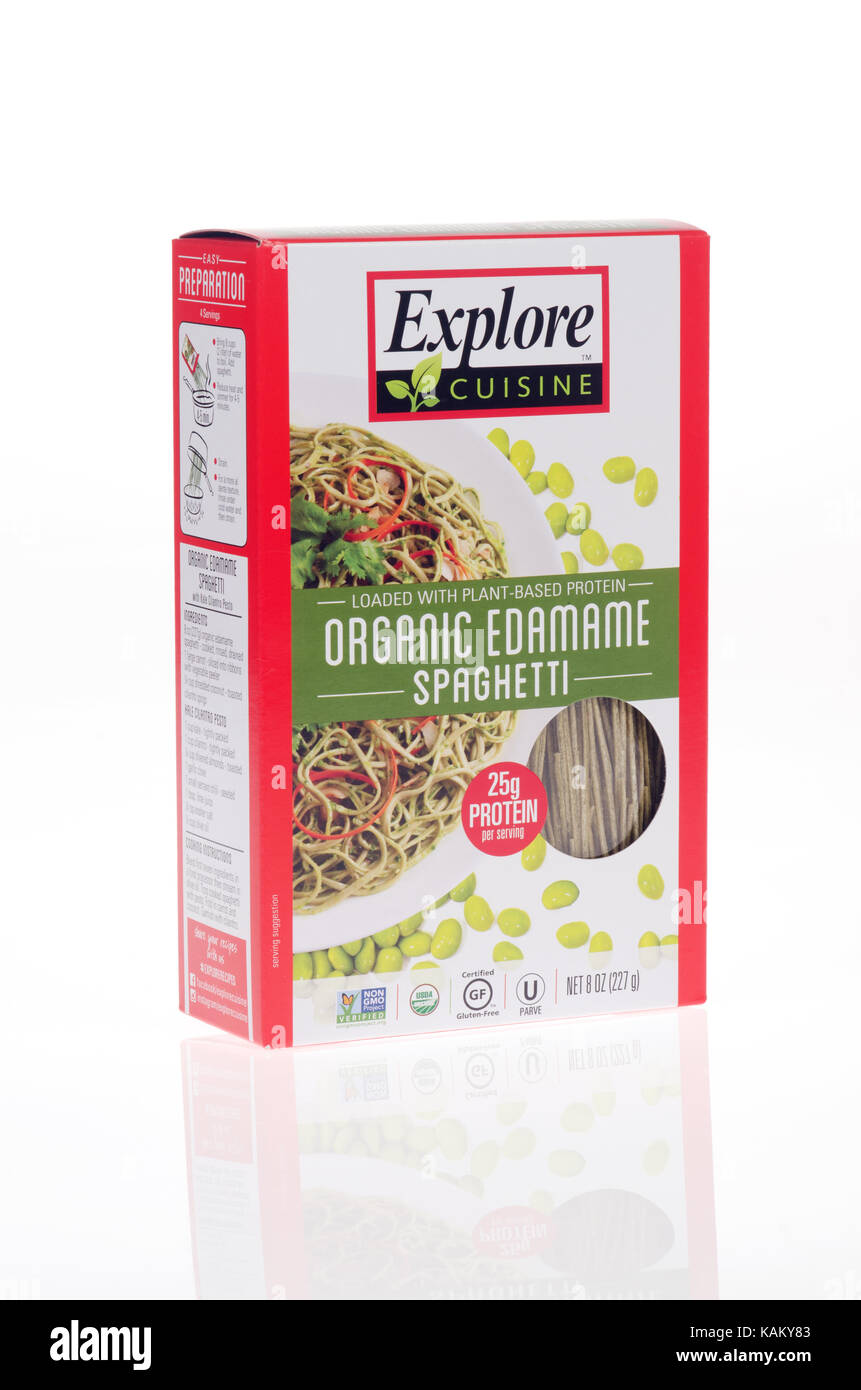 Unopened box of Organic Edamame Spaghetti  loaded with plant based protein by Explore Cuisine on white background - Stock Image