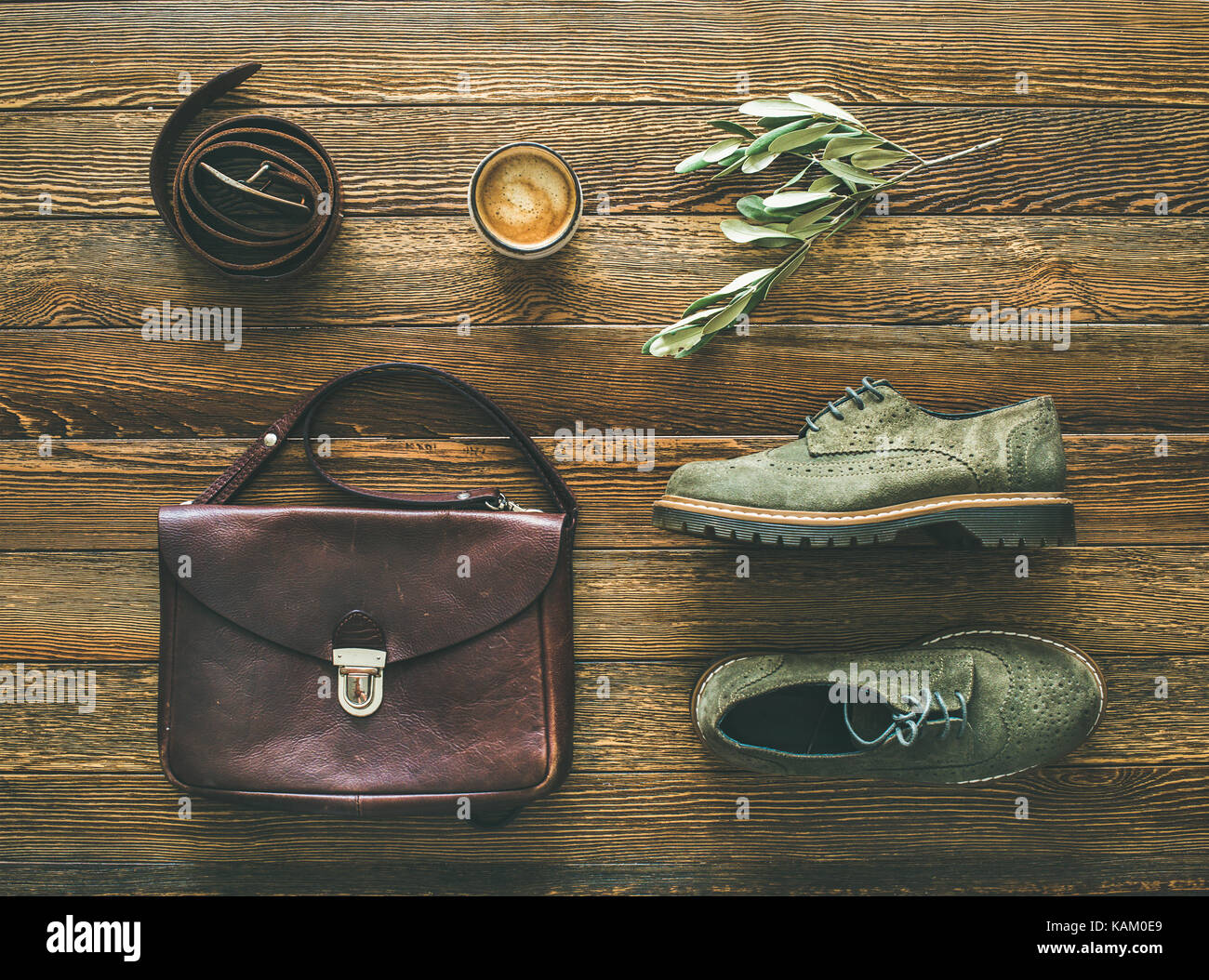 Flat-lay of woman's fall accessories and coffee, top view - Stock Image