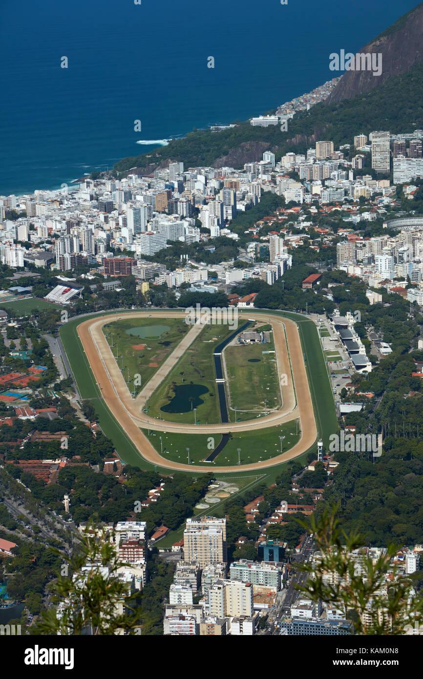 Jockey Club Brasileiro, Gávea, and apartments in Leblon, Rio de Janeiro, Brazil, South America - Stock Image