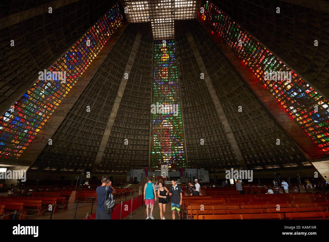 Stained-glass windows and interior of Catedral Metropolitana de São Sebastião, Centro, Rio de Janeiro, - Stock Image