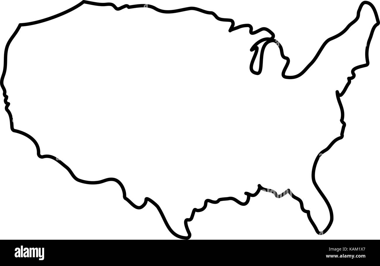 United states map silhouette - Stock Image
