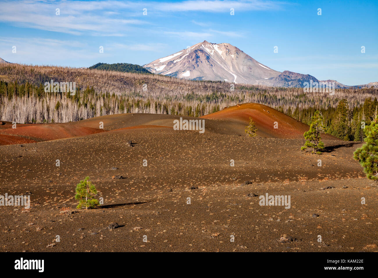 Mt Lassen rises to the west of the Painted Dunes in Lassen Volcanic National Park - Stock Image