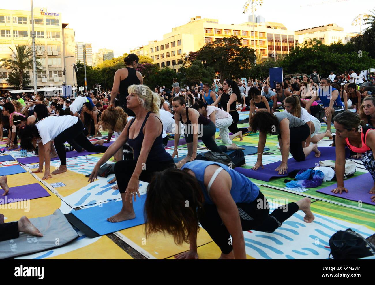 International Yoga Day In Tel Aviv Practice At Rabin Sq